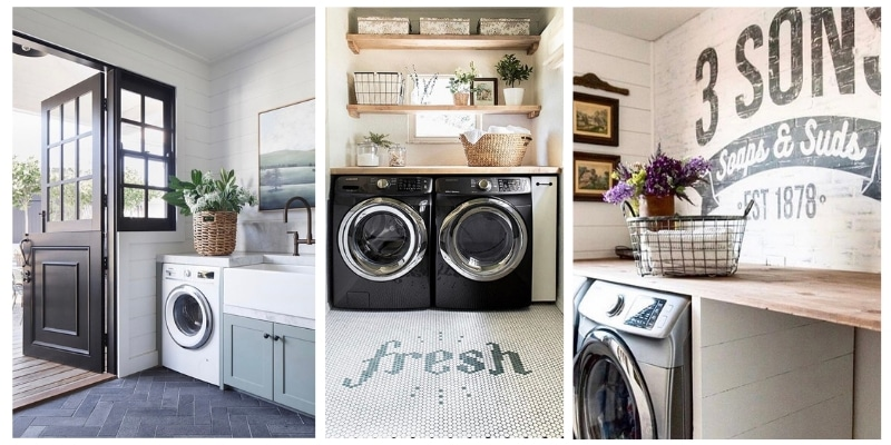 Farmhouse Laundry Room Decor ideas that will inspire you.  These 10 of the best beautiful ideas use modern, shabby chic, rustic, fixer upper vibes.