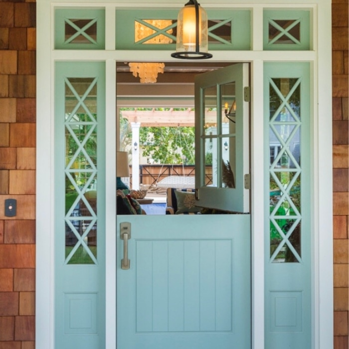 Modern Dutch Door Ideas by HOuse of Turquoise with a light turquoise dutch door framed in by crossed windows