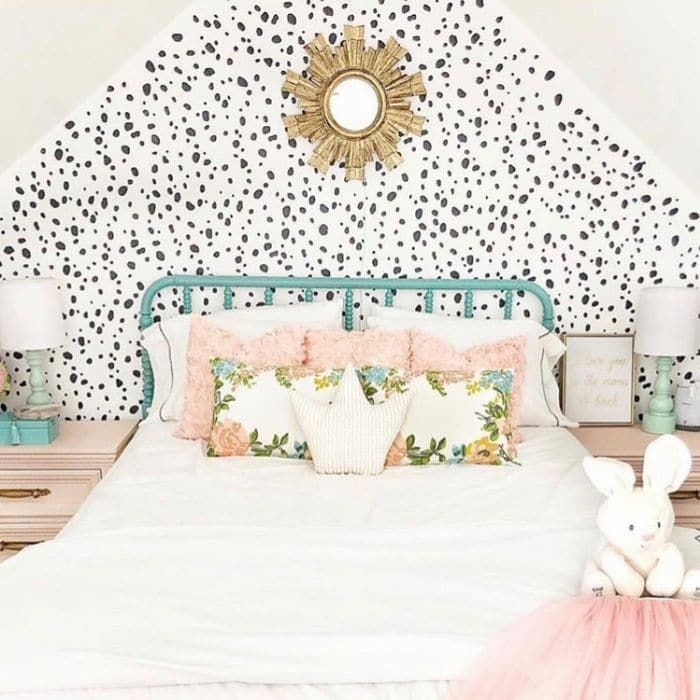 Creative Wall Painting Ideas by Little Latti House with a dalmatian pattern stenciled on the wall