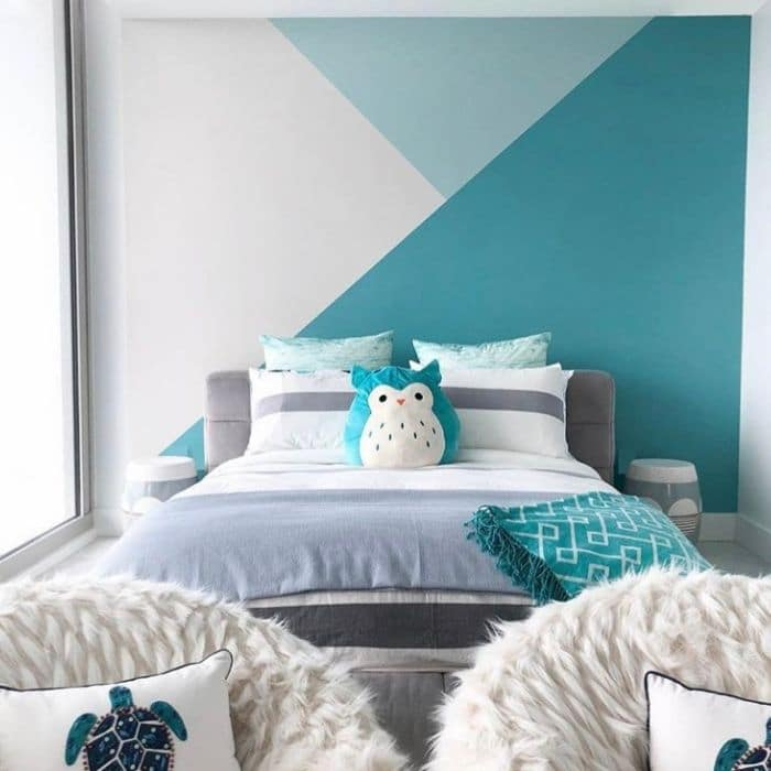 Creative Wall Painting Ideas by Maca Interiors with a beach inspired geometric wall pattern