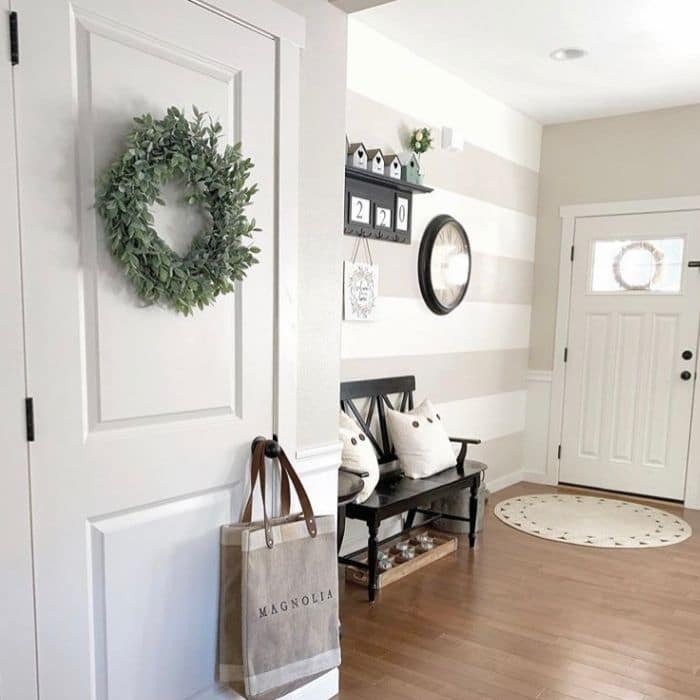 Creative Wall Painting Ideas by Krissie at Home with a farmhouse stripped foyer