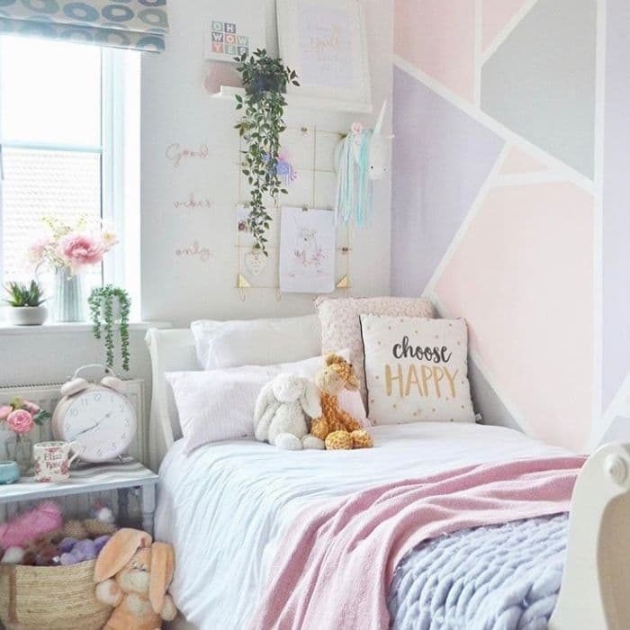Creative Wall Painting Ideas by Eliza Rose Home with a geometric pattern in her daughter's room