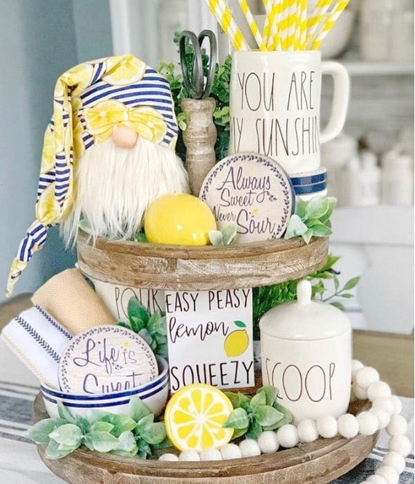 Lemon Décor by Bailey Branches with a lemon tiered tray with a gnome and Rae Dunn