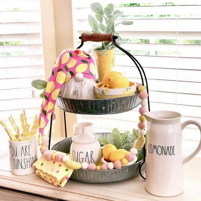Lemon Décor by French Flair Farmhouse with a gnome and lemon kissed garland