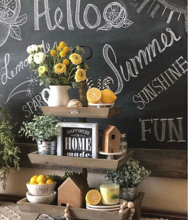 Lemon Décor by Cupcake Country Girl with a farmhouse wooden tiered tray