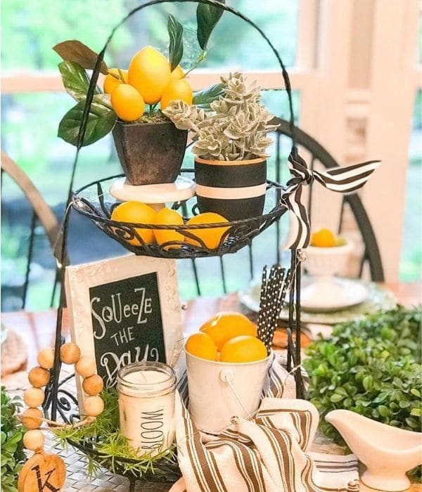 Lemon Décor by Delighted with the Details with a wire lemon filled tired tray and black and white pops