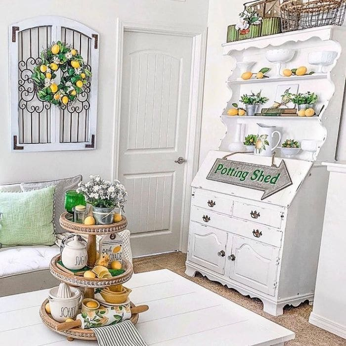 Lemon Décor by My Crafted Home with a lemon themed tiered tray