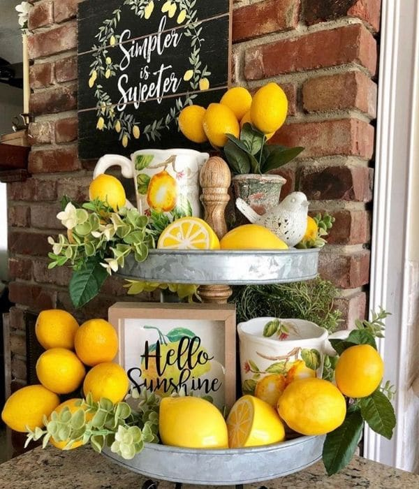 Lemon Décor by French Flair Farmhoouse with faux lemon branches filled tray