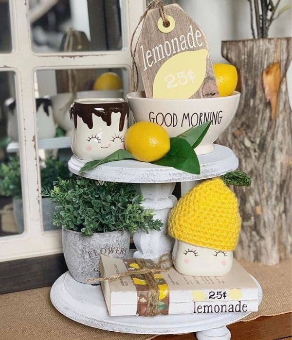 Lemon Décor by Design Style by Marci with cute marshmallow mugs, a wooden lemonade price tag and stamped books
