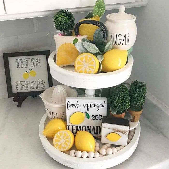 Lemon Décor by Kim's Blessed Empty Nest with a fresh lemon tiered tray
