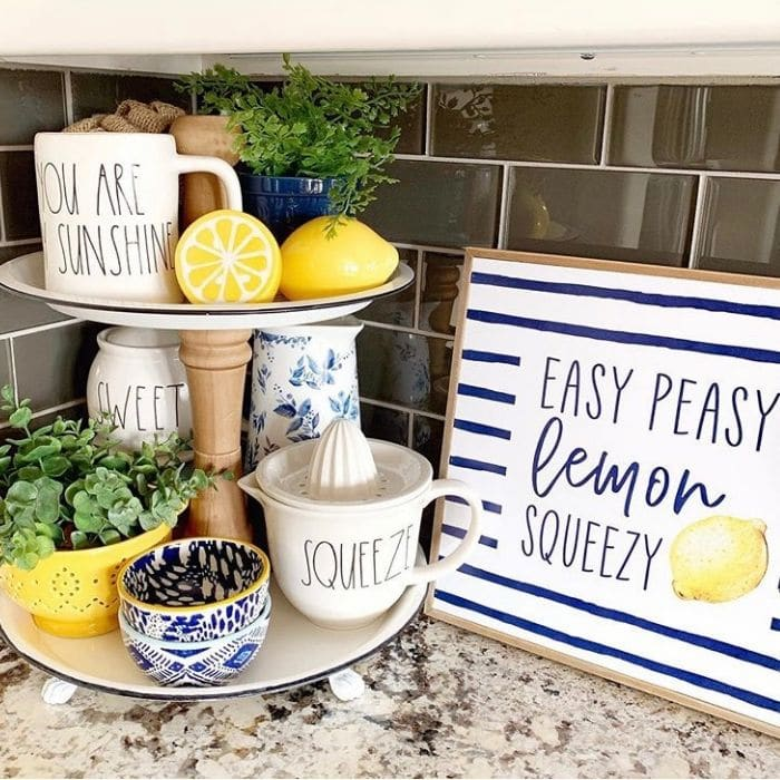 Lemon Décor by Stager Roz with a yellow, blue and white themed tiered tray