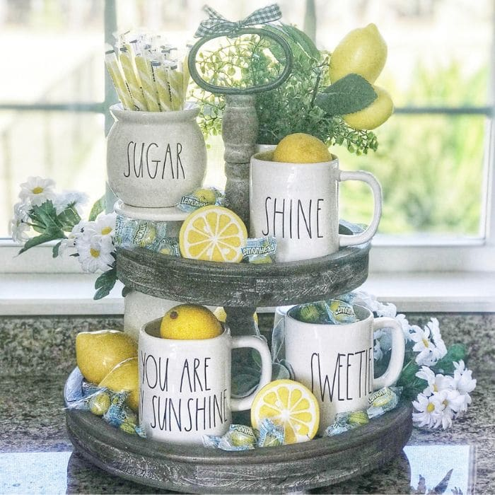 Lemon Décor by Pammy & Poppy with a pucker filled lemon tiered tray