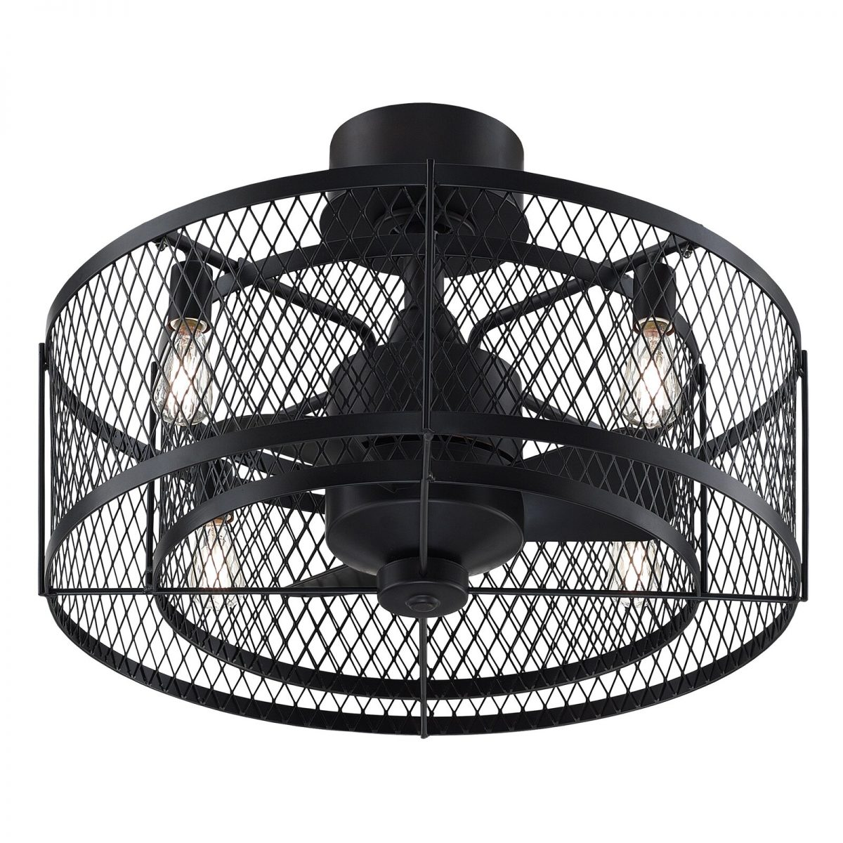 Affordable farmhouse ceiling fan unique metal rustic compact fan with remote color black