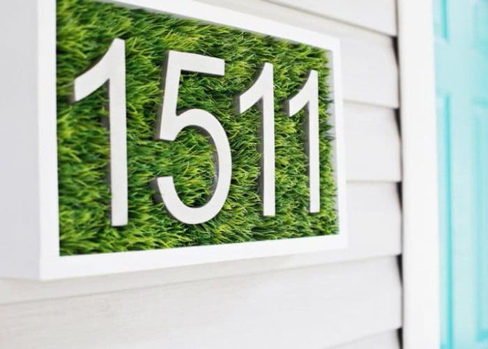 Decorative House Numbers by A Beautiful Mess with grass and house numbers