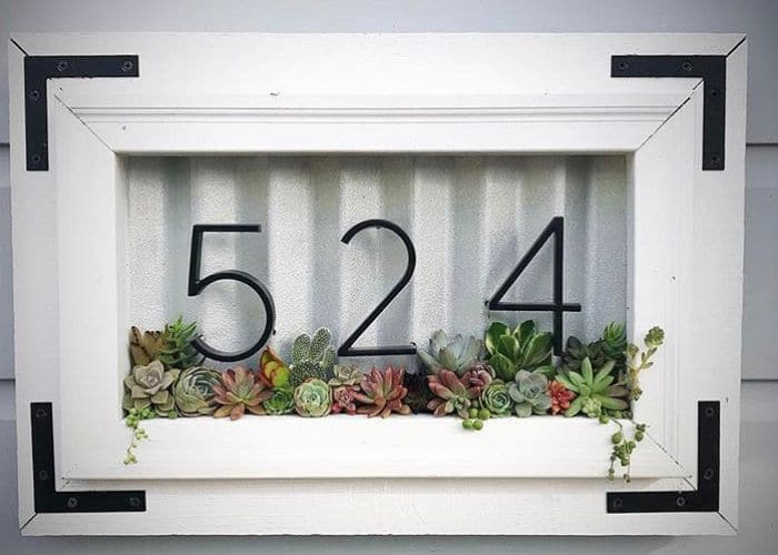 Decorative House Numbers by She's So Succulent with a succulent house number box