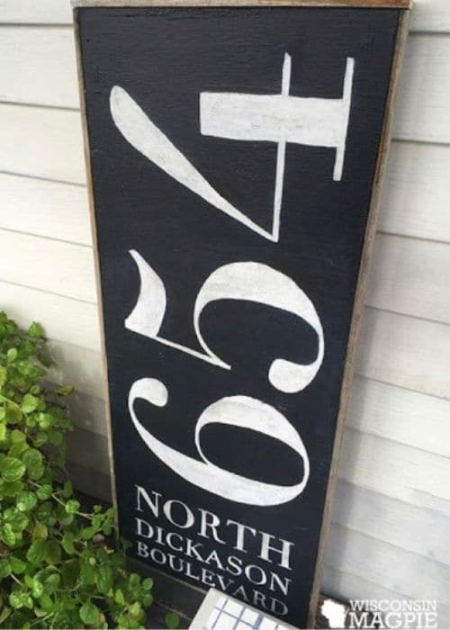 Decorative House Numbers by Wisconsin Magpie with a chalk paint address sign