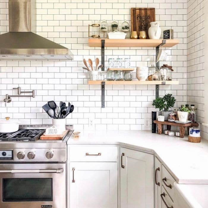 Farmhouse Backsplash by Concrete Cottage with classic white subway tiles