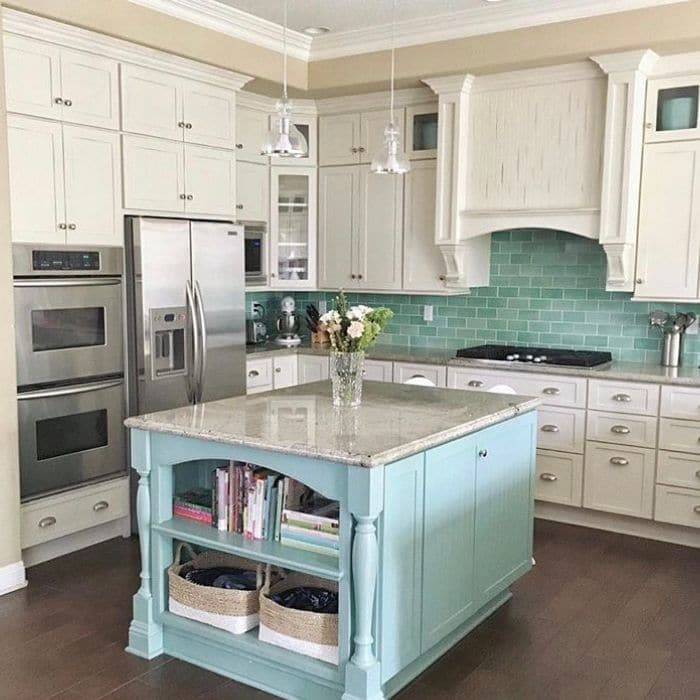 Farmhouse Backsplash by The Creative Copycat with aqua subway tiles