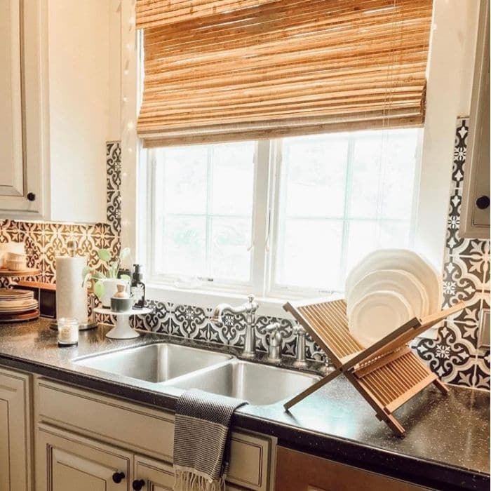 Farmhouse Backsplash by Life With Ginger Lee with black and white Spanish design tiles