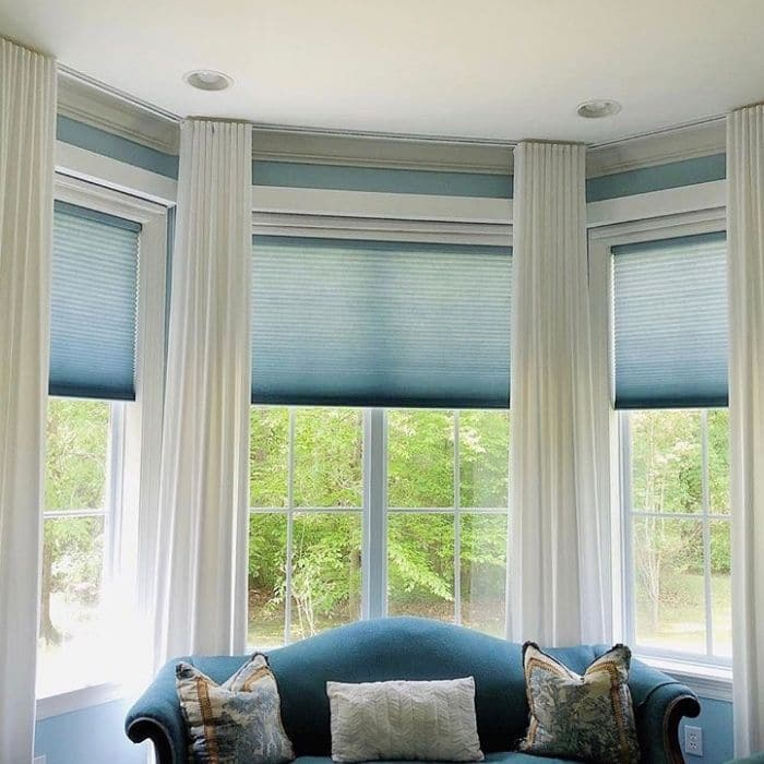 Curtains for Corner Windows by Inspired Spaces by Laura with a great bay window option
