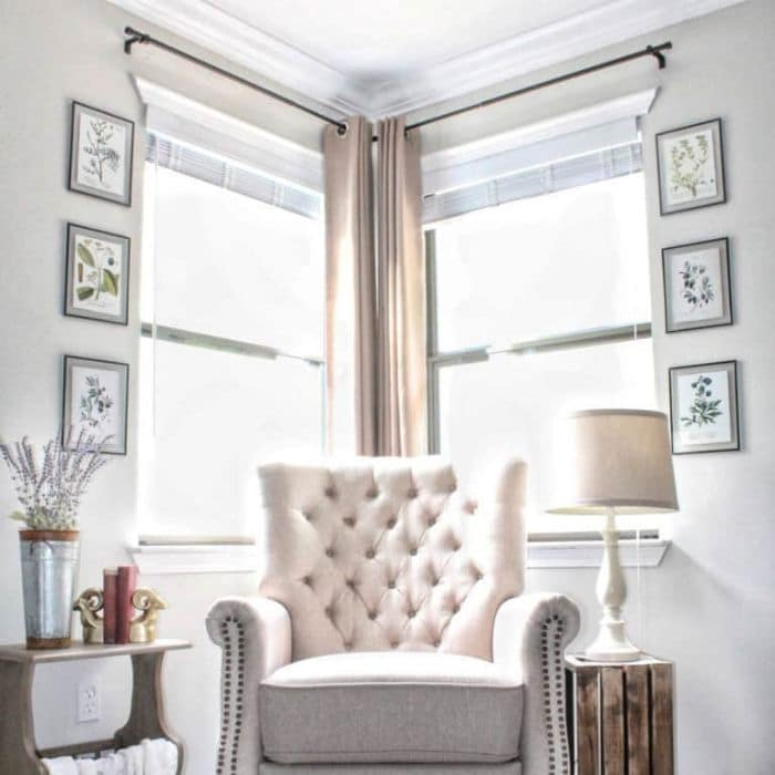 Curtains for Corner Windows by Repurpose and Upcycle with corner curtain rods with a  curtain rod connector