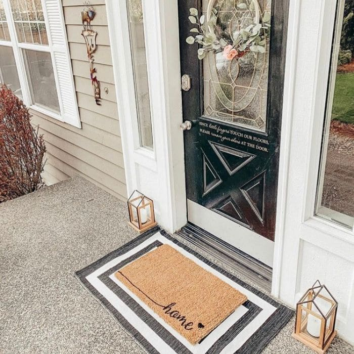 Layered Rug Ideas by Hyland Homestead with layered rug welcome mat