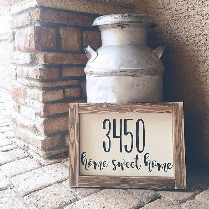 Decorative House Numbers by Polka Dotted Girl with a framed address sign