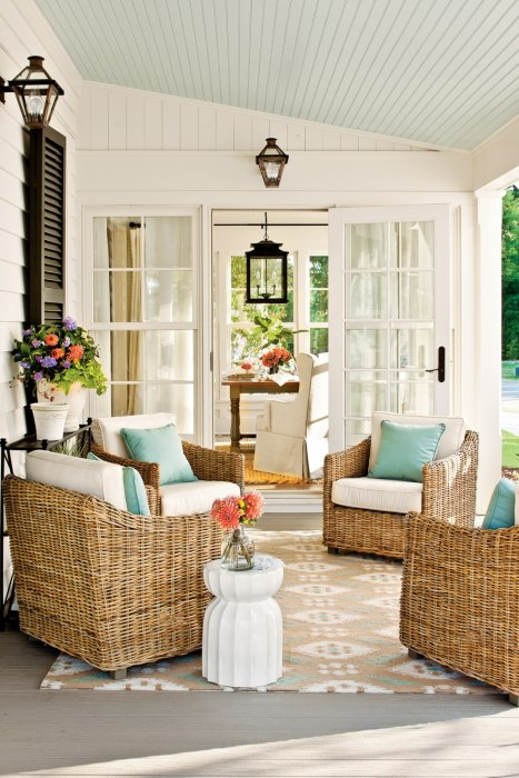 Haint blue porch ceiling in color Window Pane by Sherwin Williams