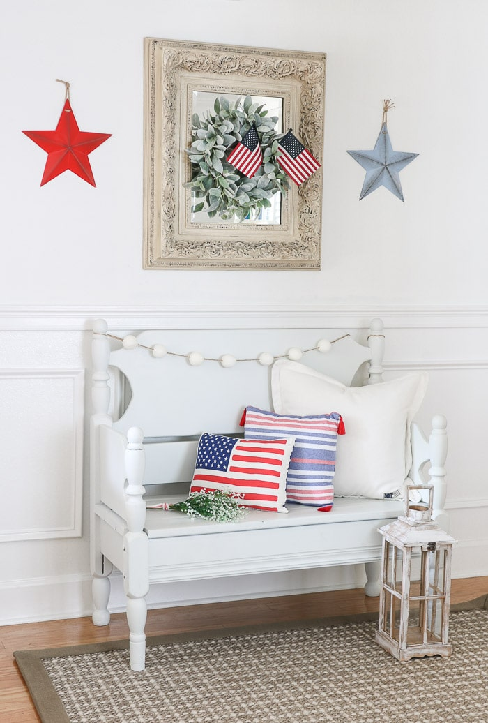 red, white and blue decorations in the entryway