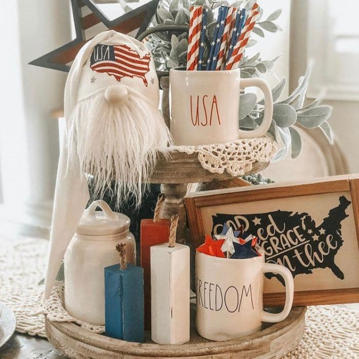Patriotic Decorating Ideas by Austin Creek Farmhouse with a Independence Day themed tiered tray