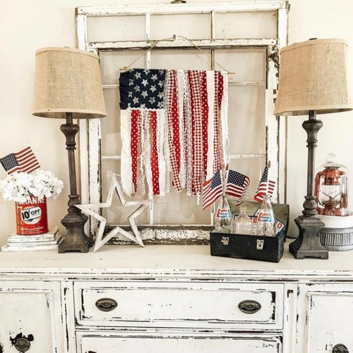 Patriotic Decorating Ideas by Southern Nest with a ribbon American flag