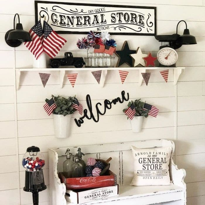 Patriotic Decorating Ideas by My Carolina Farmhouse with a red white and blue decorated entryway