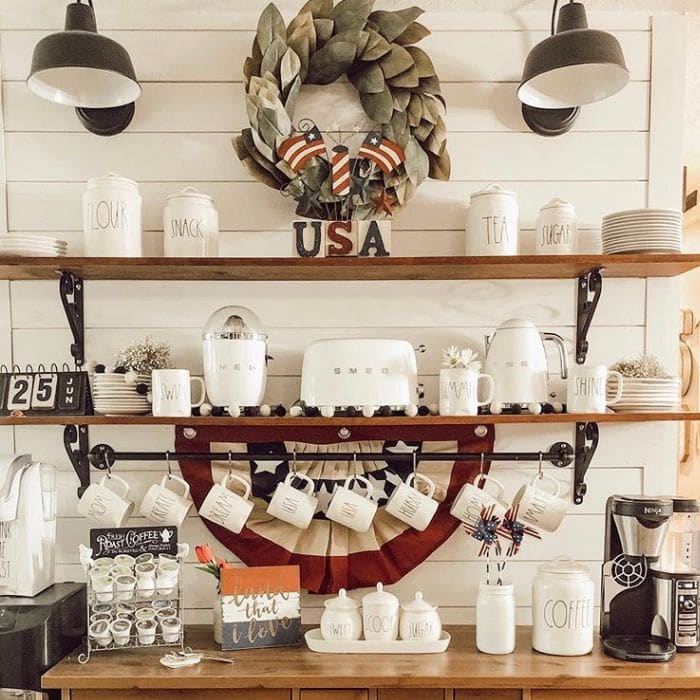 Patriotic Decorating Ideas by A House on the Lake with a coffee bar themed with patriotic decorations