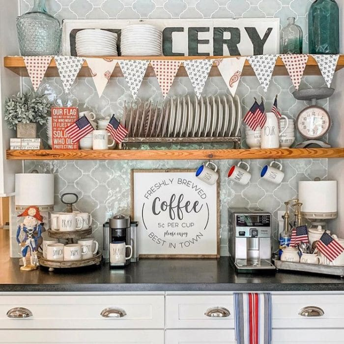 Patriotic Decorating Ideas by To Mimi's House We Go with a Rae Dunn coffee bar  with red, white and blue