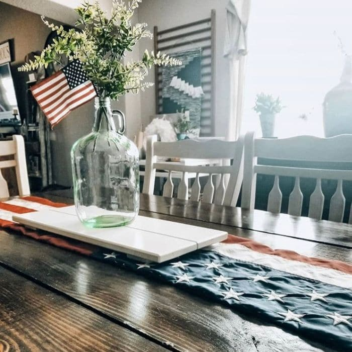 Patriotic Decorating Ideas by Cottage of Five with an American Flag table runner