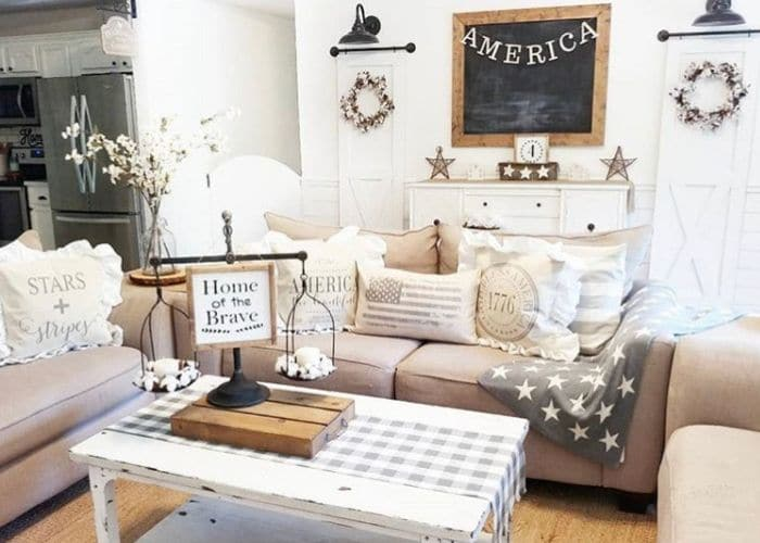 Patriotic Decorating Ideas by Our Cozy Cottage with neutral colored Americana decor