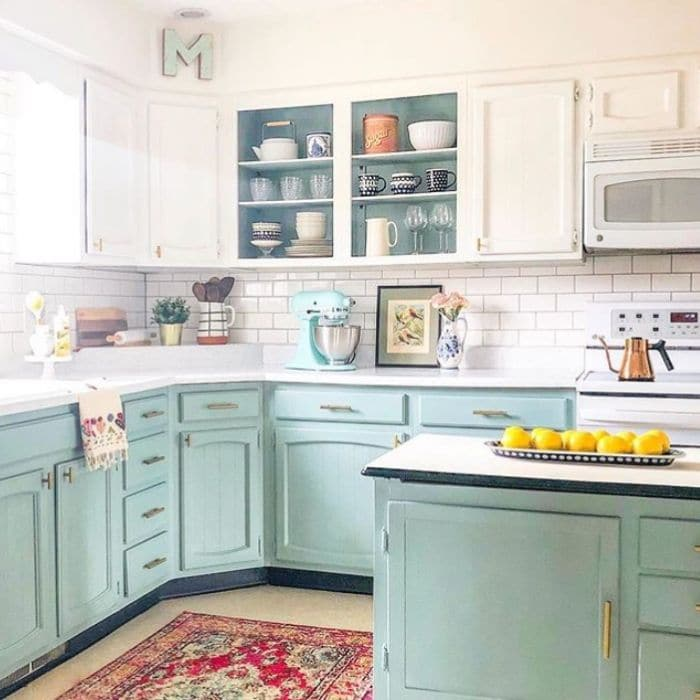 A Farmhouse Kitchen with chalk painted cabinets by Holland Avenue Home