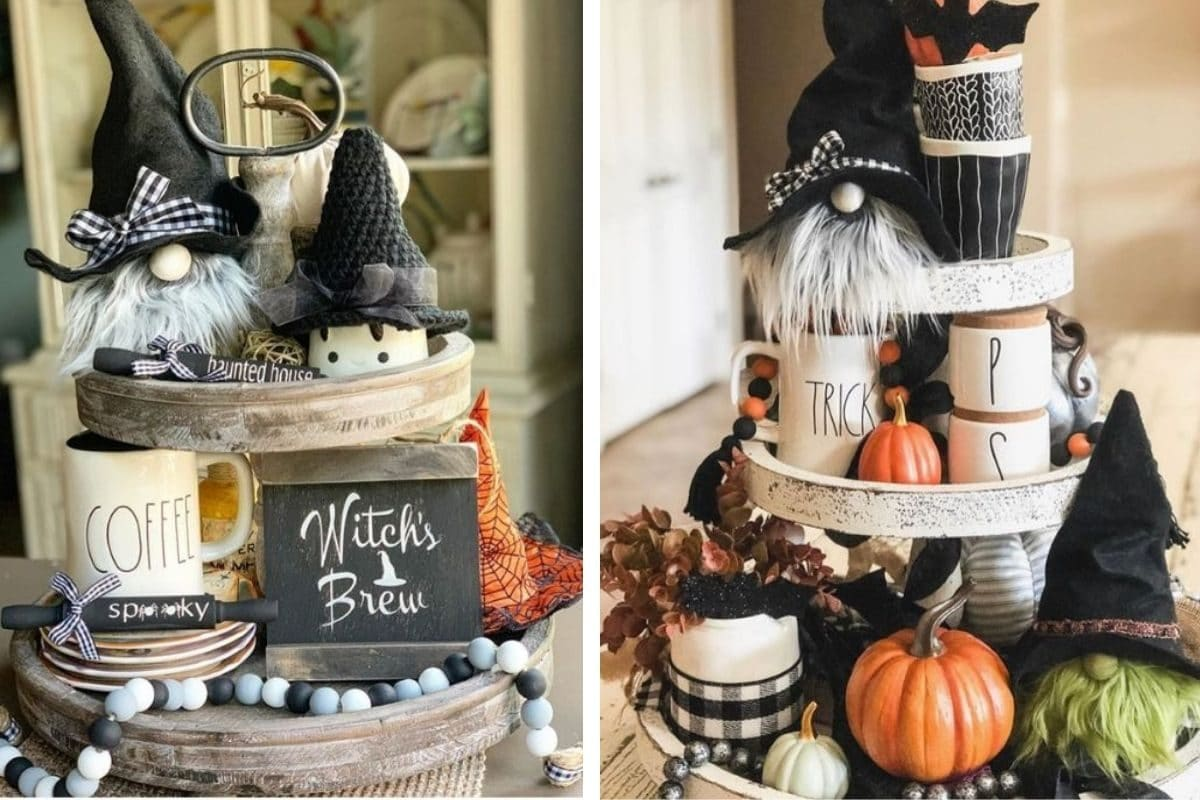 Country Halloween decor ideas for your home including tiered trays filled with pumpkins, Rae Dunn, trolls, black, gray and white beads, gingham wrapped candles, spooky rolling pins, witch's brew sign, white pumpkins.