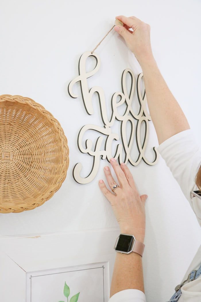 How to hang a gallery wall including cut letter art for fall.