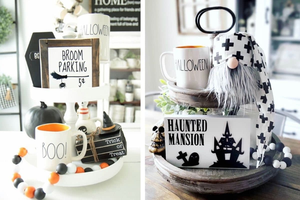 Halloween tiered tray ideas for home.  Witches, Rae Dunn, gnomes, haunted houses, broom parking signs, orange, black and white wood beads.