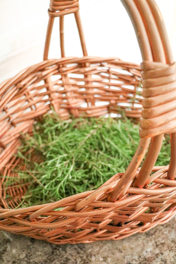 Nurses graduation party ideas.  A basket full of rosemary cut from my sisters garden to be used for the place setting for the nurses graduation party.  These ideas are for a casual but elegant dinner event.