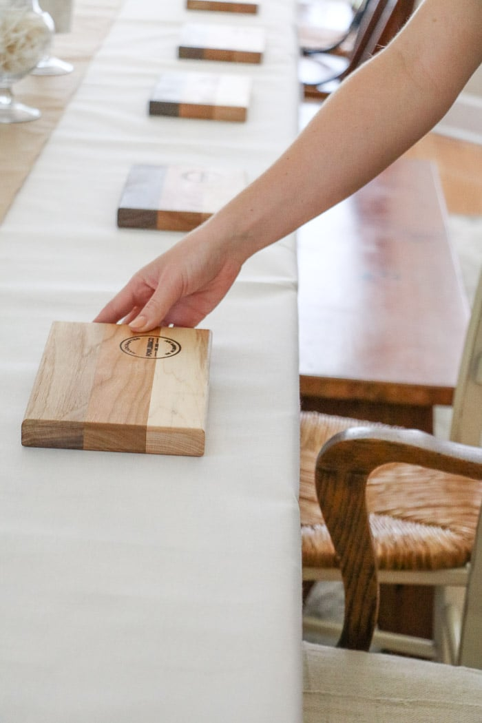 Nurses graduation party ideas.  Place cutting boards at each place setting as plates for the guest.