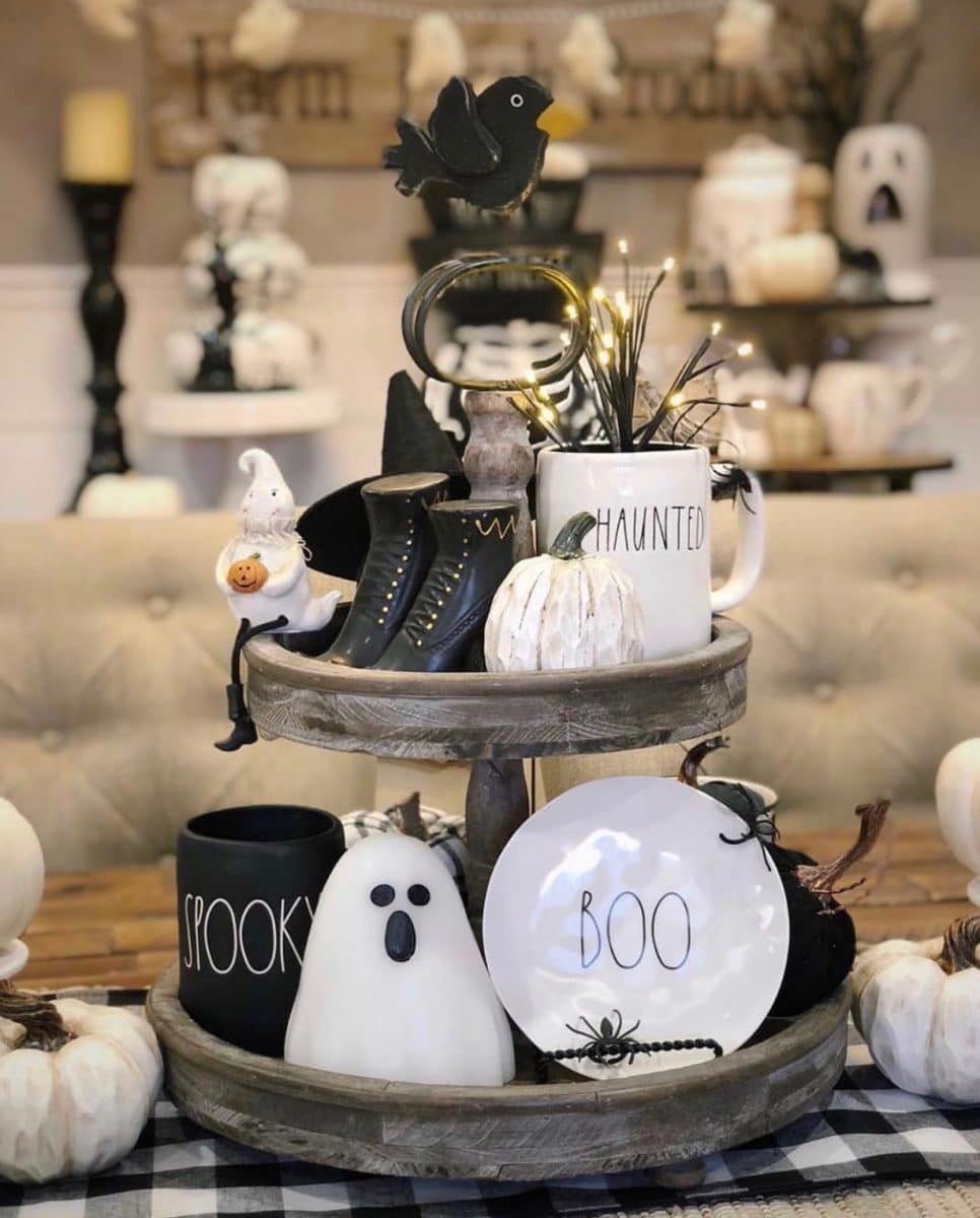 Halloween tiered tray ideas for home.  Rae Dunn decor, ghost, and pumpkin