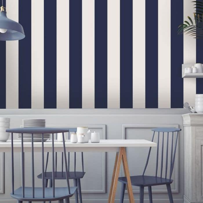 Farmhouse Style Wallpaper with navy and white striped wallpaper from Pottery Barn