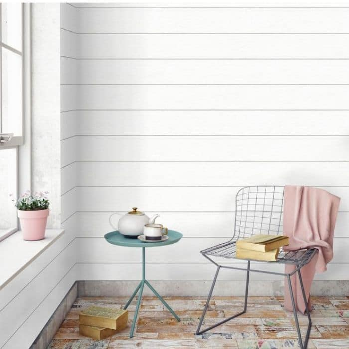 Farmhouse Style Wallpaper with a textured shiplap wallpaper from Target