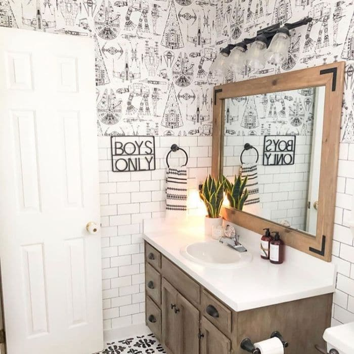 Farmhouse Style Wallpaper by My DIY Happy Home with Star Wars wallpaper in her boy's bathroom
