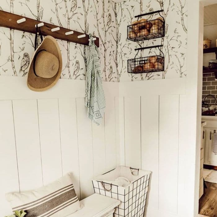 Farmhouse Style Wallpaper by Timberfields with a woodland themed wallpaper in her mudroom
