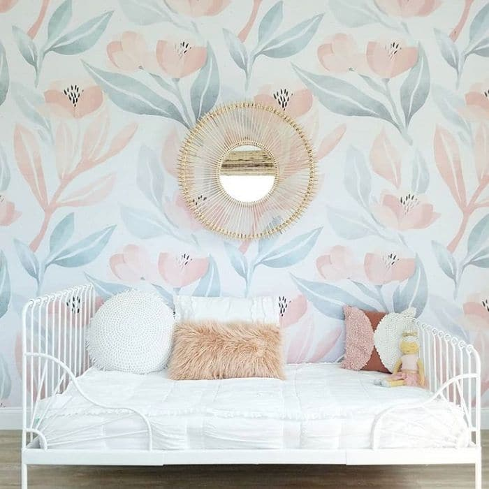 Farmhouse Style Wallpaper by Carcabar Road with a floral wallpaper in a bedroom