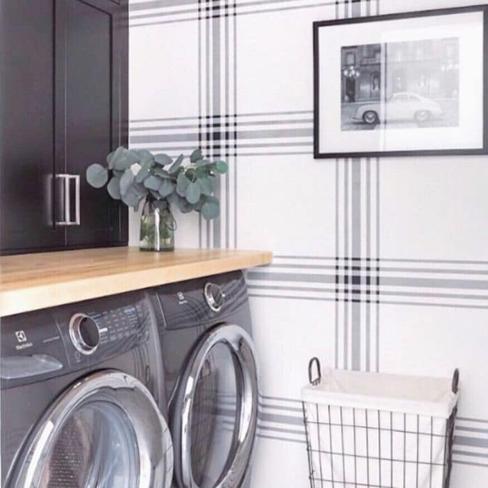 Farmhouse Style Wallpaper by Gordie & Co Designs with a plaid wallpaper in their laundry room