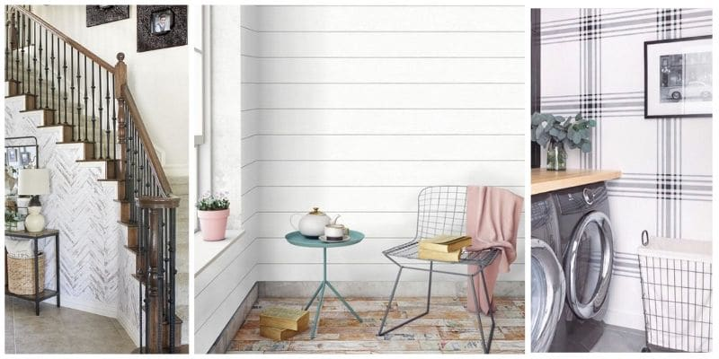 Farmhouse style wallpaper featuring three different photos with shiplap wallpaper, herringbone wallpaper and a delicate plaid wallpaper